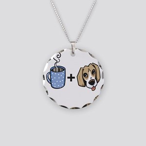 beagle_coffee_fordark Necklace Circle Charm