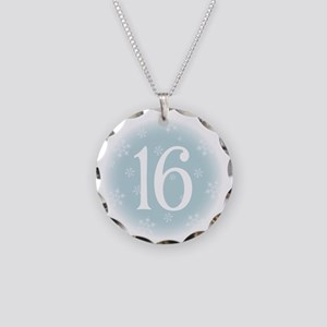 Sweet 16 Winter Birthday Necklace Circle Charm