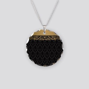 Golden Stripe Vintage Damask Necklace Circle Charm