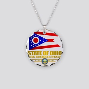 Ohio Flag Necklace Circle Charm