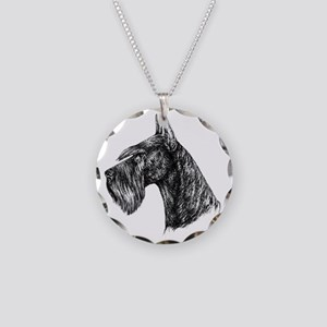 Giant Schnauzer Head Profile Necklace Circle Charm