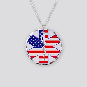Flag Star Necklace Circle Charm