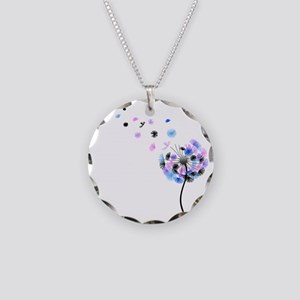 Dandelion rainbow Necklace Circle Charm