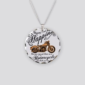 Happiness - Motorcycle Necklace Circle Charm