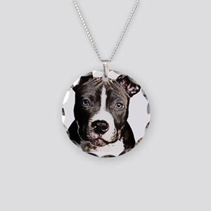 Cartoon Pit Pup Necklace Circle Charm