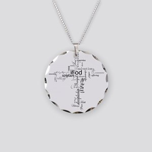 Christian cross word collage Necklace Circle Charm