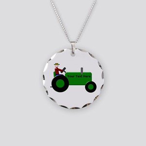 Personalized Green Tractor Necklace Circle Charm