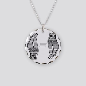 Communication hands BW Necklace Circle Charm