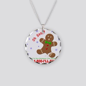 Gingerbread Man Law Suit3 3D Necklace Circle Charm