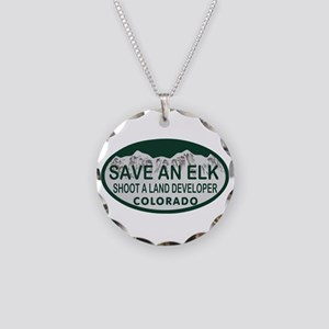 Save an Elk Colo License Plate Necklace Circle Cha
