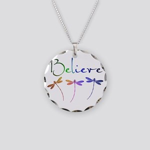 Believe...dragonflies Necklace Circle Charm
