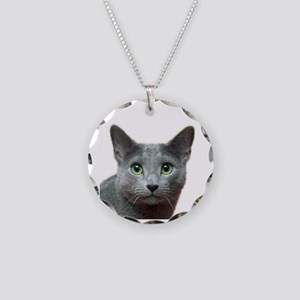 Russian Blue Cat Necklace Circle Charm