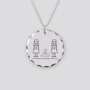 LGBT 2 Mommies Necklace Circle Charm