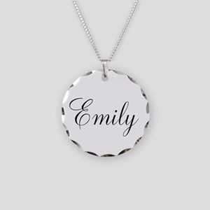 Personalized Black Script Necklace Circle Charm