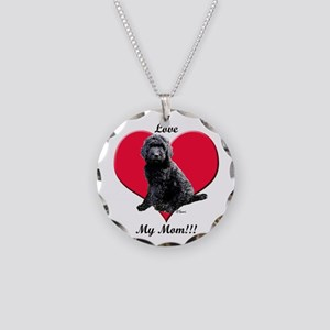 I Love My Mom!!! Black Goldendoodle Necklace