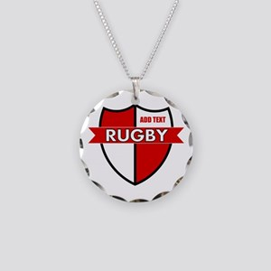 Rugby Shield White Red Necklace Circle Charm