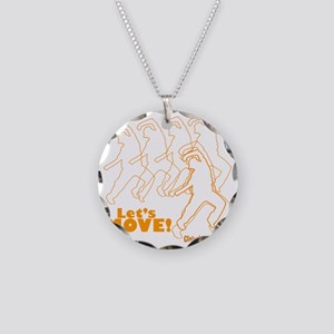Lets Move! Dancing Guy Logo Necklace Circle Charm
