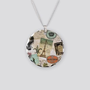 Vintage Travel collage Necklace