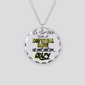 don't mess with a softball m Necklace Circle Charm