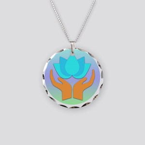 Lotus Flower - Healing Hands Necklace Circle Charm