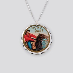 Pony Post Cigar Label Necklace Circle Charm