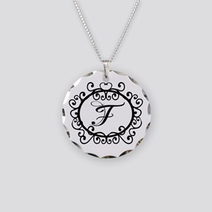 F Monogram Initial Letter Necklace Circle Charm