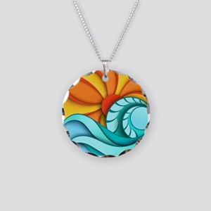Sun and Sea Necklace Circle Charm