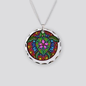 Sea Turtle Painting Necklace Circle Charm