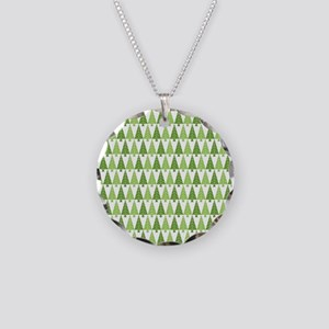 Christmas Trees Necklace Circle Charm