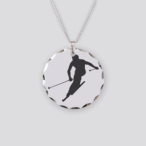 downhill-ski Necklace Circle Charm