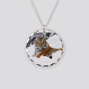 Tiger In Snow  Necklace Circle Charm