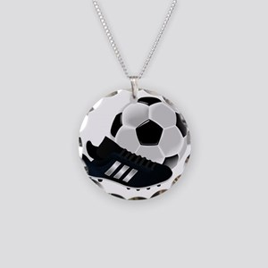 Soccer Ball And Shoes Necklace Circle Charm