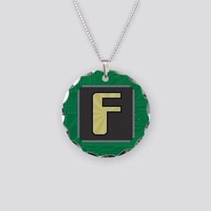 CIRCUIT BOARD F Necklace Circle Charm