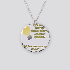 Lawyer lightbulb joke Necklace Circle Charm