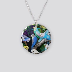 Budgerigars in Ferns Necklace Circle Charm