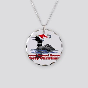 Christmas Loon Necklace Circle Charm