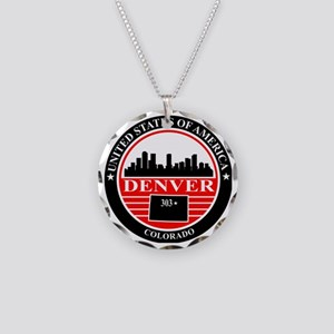 Denver logo black and red Necklace Circle Charm