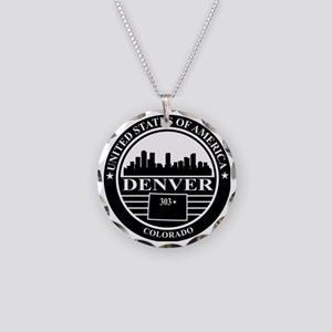 Denver logo black and white Necklace Circle Charm