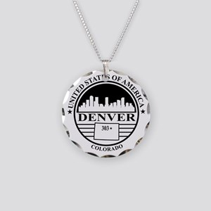 Denver logo white and black Necklace Circle Charm