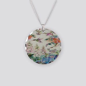 HUMMINGBIRDS_PAINTING_CANVAS Necklace Circle Charm