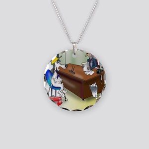 6167_dog_cartoon Necklace Circle Charm