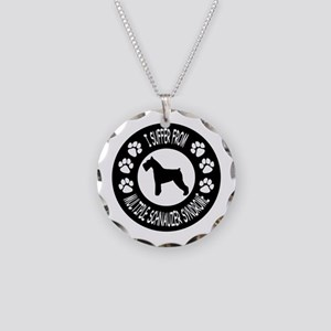 Schnauzer Necklace Circle Charm