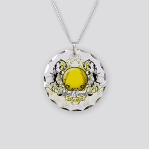 Softball Grandma Necklace Circle Charm