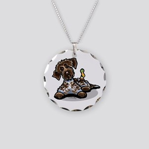 Funny Pointing Griffon Necklace Circle Charm