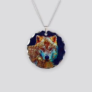 Pop Art Wolf Necklace Circle Charm