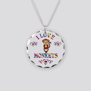 I Love Monkeys Necklace Circle Charm