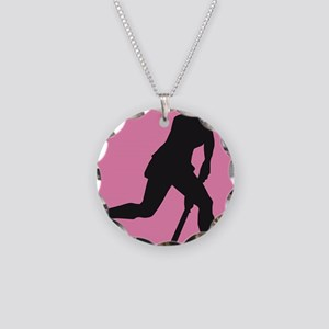 female hockey player Necklace Circle Charm
