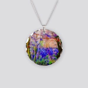 Nature In Stained Glass Necklace Circle Charm