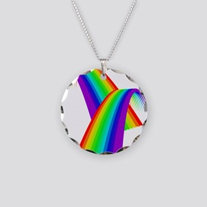 LGBTQ Pride Rainbow Bridge Necklace Circle Charm