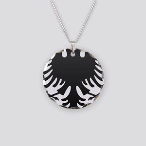 Albanian Eagle Carbon Necklace Circle Charm
